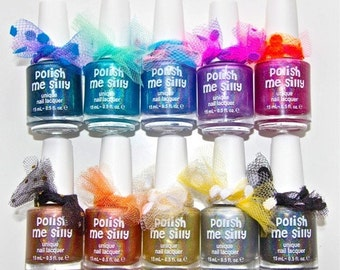 Full Set of Holographic Polishes :  Custom-Blended Indie Glitter Nail Polish / Lacquer Christmas