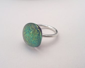 purple dichroic glass ring set on sterling silver