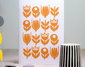 Retro Flower Card, Scandinavian Flower Greeting Card, Birthday Card, Mid Century Design, Blank Flower Icon Card, Yellow Vintage Pattern Card