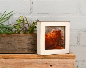 4x4 Square Photo Picture Frame in Deep Flat Style with Vintage White Finish - IN STOCK - Same Day Shipping - 4 x 4 Frame Rustic White