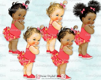 Ruffle Pants Pony Coral & Gold | Vintage Baby Girl Afro Puffs | 3 Skin Tones | Clipart Instant Download