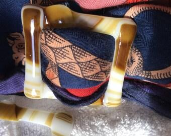 Fused glass scarf jewelry/buckle