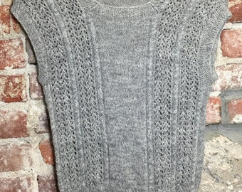 Vintage 70s Hand-knit Sweater Tunic Tank Top Grey Size XSmall