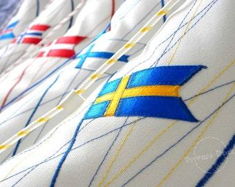 SALE -20% Nautical Pillow Swedish Yacht with Flag, Nautical Art! Luxury White Home Decor. Spectacular gift !