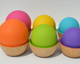 Babies First Sorting Wooden Rainbow Balls and Bowls Montessori Inspired Toy