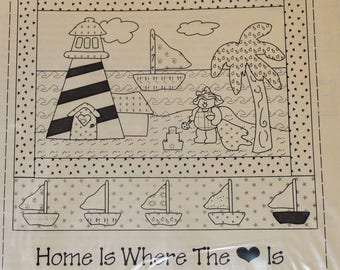 Lighthouse July, HWSC-07, , The Stitch Connection Quilting Pattern, Home Is Where The Heart Is, Wall Hanging Quilt Block Sail Boat, Summer