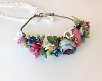 Flower Tie back halo- Flower crown- Matilda Jane Crown- Dollcake Crown- Headband- Tie Back Headband- Flower Girl Headband- hair wreath