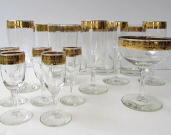 Set of 15 Vintage Glasses  Gold and Turquoise Banded Glasses - Stemware - Mid Century Barware - Gold Encrusted - Tumblers - Wine - Cordials-