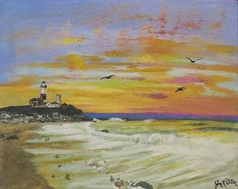 Montauk Lighthouse,NY on 16x20 canvas panel sunset
