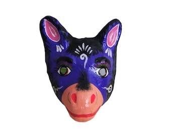 Mexican Paper Mache Calf Animal Mask Hand Painted