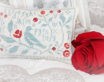 THE ROSE BUSH - official printed paper cross stitch design, The Snowflower Diaries, primitive, sampler, bird, broderie, embroidery