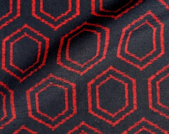31 x 140cm Kikko Red Hexagon Vintage Japanese Black Wool Kimono Fabric B4