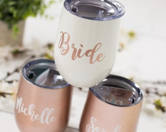 Bridesmaid gift Swig rose gold stainless steel stemless wine glass. Bridesmaids gifts. Bachelorette Drinking team. Personalized. Bride to be