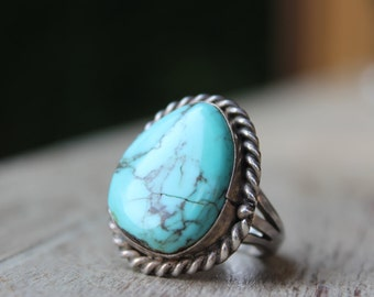 Vintage Sterling and Turquoise Ring 16 grams Vintage Jewelry