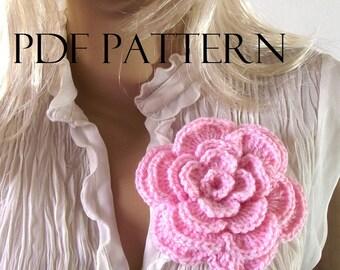Crochet PATTERN FLOWER Rose flower Brooch Pin Embellishment pdf pattern instant download flowers tutorial patterns