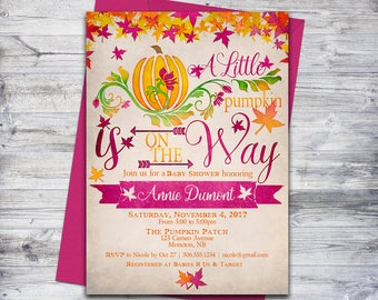 Little Pumpkin Baby Shower Invitation Printable, Fall Baby Shower Invite