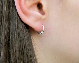 2X12 mm Sterling Silver Hoop Earrings - Silver Hoop Earrings - Tiny Hoop Earrings,Hoop Earrings,Small Hoop Earring - Silver Hoop Tiny,046H