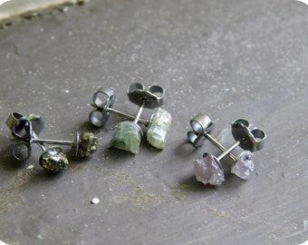 Wholesale Lot Rough Raw Gemstone Earrings. Mystique Demure Mix. Petite Pyrite, Pink Spinel, & Green Kyanite on Titanium posts 3 Pair