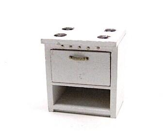 Dollhouse Stove, Oven, Kitchen, Appliance, White, Vintage, Miniature, Wood, 1:12 Scale