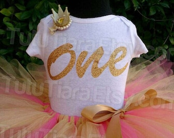 Gold Glitter Birthday Shirt Girls First Birthday Bodysuit Personalized Name 1st Birthday ONE Baby Suit Choose Your Color Glitter - Top Only