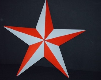 Ohio State University OSU Buckeyes Scarlet and Gray Painted 24 Inch Metal Tin Barn Star