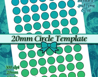 DIY DIGITAL Collage Sheet TEMPLATE 20mm Circle (0.79 inch) 8.5x11 Page with Video Tutorial Instructions (Instant Download)