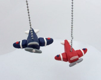 ONE Airplane Fan Pull - Children's Airplane Decor - Transportation Themed Bedroom - Aviation Nursery - Aviator -  Polymer Clay