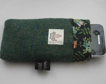 Harris Tweed Green Mobile Cozy, Liberty Edenham Phone Case, Liberty Phone Cozy, Wool Phone Case, Tweed Phone Case, Gifts for Girlfriends