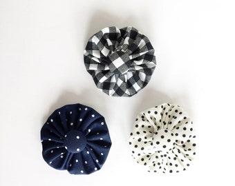 navy, black, gray fabric flower clip, button hair clip, headband clip, yo yo flower clip, gift under 10, present bow clip