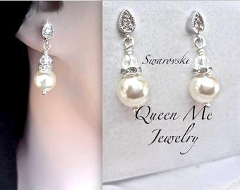 Swarovski Pearl drop earrings Minimal pearl earrings Small dangle pearl earrings Bridesmaids pearl earrings Flower girls Mother of the bride