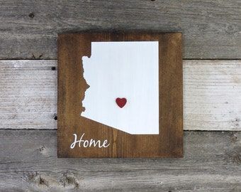 """Rustic Hand Painted """"Home State"""" Wood Sign, Arizona State Home, Home State Pride - 9.25""""x9.25"""""""