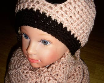 Salmon color Snood and hat set