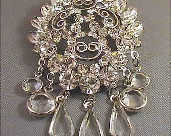 Bridal Beauty Vintage Crystal Rhinestone Dangle Brooch