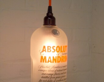 Upcycled Orange Repurposed  Hanging Pendant Absolut  Mandarin Lamp color fabric cord swag light Recycled Glass