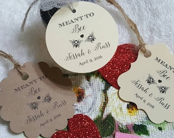 "Personalized Favor Tags 2x2"", 2"", Wedding tags, Thank You tags, Favor tags, Gift tags, Bridal Shower Favor Tags, meant to bee, meant to be"