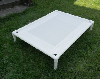 Dog Bed, 11 Mesh Colors, 14 Canvas Colors, Large Dog Beds, Custom Made PVC Pipe Cots, 4 SIZES, Outside / Indoor Beds, Dogs Up To 130 Pounds.