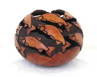 Wild Salmon Spirit Gourd Bowl (1693)