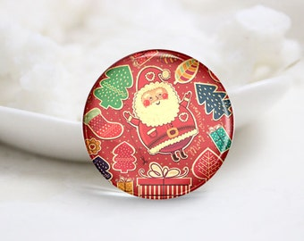 10mm 12mm 14mm 16mm 18mm 20mm 25mm 30mm Handmade Round Photo Glass Cabs Cover-Christmas (P2119)