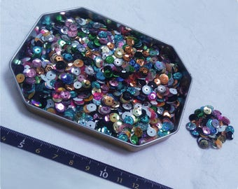 Lot of sequins / glitter multicolored 4 to 6 mm