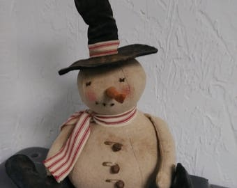 Primitive Snowman Doll with Top Hat and Boots