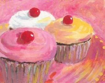 Original Painting * ACEO Mini  Painting * CUPCAKE GLOW * Dessert Series * Small Art Format * Art by Rodriguez