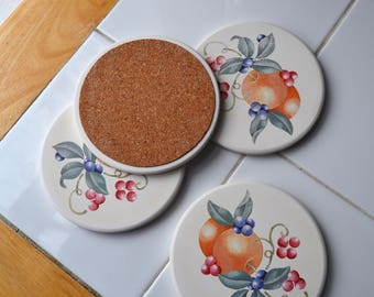 Decorative Coaster Sets. Cup Coaster. Stencilled Ceramic Coasters.  Cork Backed Drinks Coaster.  Set of 4.   - VD48