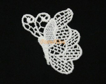 10 Pieces White Lace Appliques Floral Embroidered Patches Butterfly Patches 55x40mm (LACE23-25861)