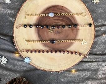Elephant Charm Bracelet-Wire Bracelet-Beaded Bracelet-Tibetan Jewelry-Wire Wrapped-Stone Jewelry-Yoga Bracelet-Buddhism-Animal Jewelry-Gift