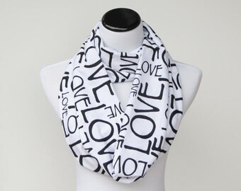 Love Scarf Infinity Scarf Valentine's Day Scarf White Black Scarf Circle Scarf Loop Scarf Valentine Gift for Women Teen Girl