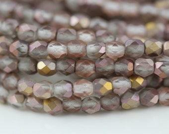 50 Matte Apollo (Gold), 4mm Czech fire-polished glass faceted round (FP-4M-126)