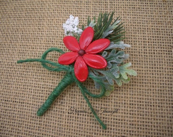 Rustic Winter Wedding Boutonniere, Red and Green, Handmade Natural Buttonhole Flower, Christmas Lapel Pin, FlowersForThought original design