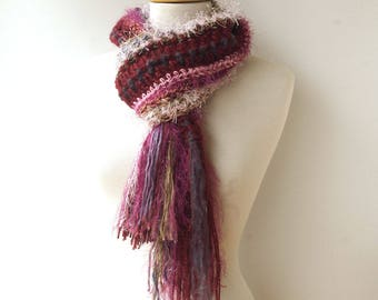 Pink Wool Scarf with Fringe - Striped Art Scarf - Fluffy Knit Scarf