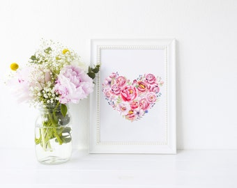 Peony Heart Art Print, art print, pink peony, ideal gift for flower lovers