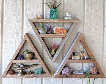 Three Triangle Shelves · crystal display shelf · reclaimed wood wall art · boho hanging · small bohemian shelving · essential oil storage